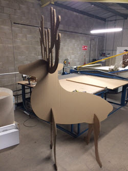 A Reindeer made out of cardboard