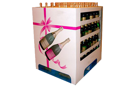 Case of wine for POS display in cardboard